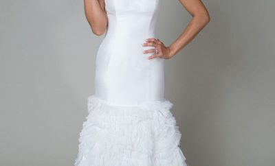 Amazing exaggerated drop waist bridal gown