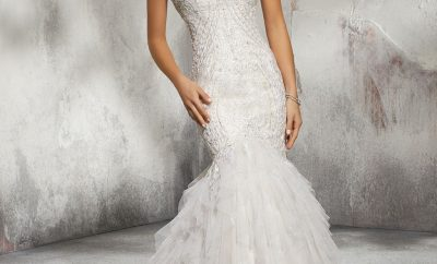 The exaggerated drop waist bridal gown